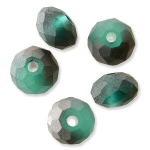 ガラスビーズ ボタンカット ハーフコートフロスト グリーン 4×6mm 20個 アクセサリーパーツ