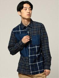 [Rakuten Fashion]BEAMS / インディゴ チェック 切替 シャツ BEAMS MEN ビームス メン シャツ/ブラウス 長袖シャツ グレー レッド【送料無料】