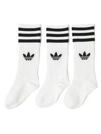 adidas / ソリッド クルー ソックス 3P(17~24cm) こども ビームス コドモ ビームス ファッショングッズ ソックス/靴下 ホワイト ブラック[Rakuten Fashion]