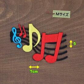 アイロンワッペン( カラー音符 黒 )(Mサイズ)