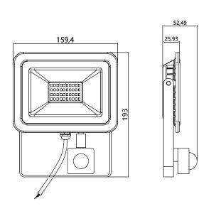 LED投光器人感センサー電球色昼光色黒30WIP65屋内屋外防塵耐塵防水LES030ビームテック