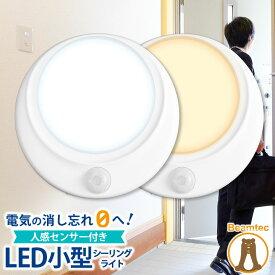 シーリングライト 人感センサー付き LED 小型 天井直付灯 ミニシーリングライト 天井照明 照明 センサー 感知 自動 コンパクト 廊下 階段 電球色 昼光色 トイレ 廊下 通路 おしゃれ CL-SS08 ビームテック