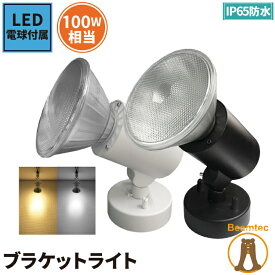 LED電球付き スポットライト 照明 業務用 オフィス 工場 現場 作業用 ライト ブラケットライト ワークライト E26FLPAR-LDR10 ブラック