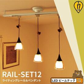シーリングライト おしゃれ スポット LED ライト 天井照明 ライティングレール ダクトレール RAIL-SET12 ビームテック