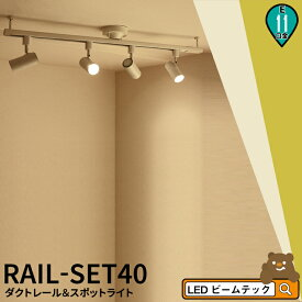 シーリングライト おしゃれ スポット LED ライト 天井照明 ライティングレール ダクトレール RAIL-SET40 ビームテック