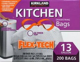 【土日もあす楽対応♪】【送料無料】カークランド[コストコ] ひも付きゴミ袋(ポリ袋) 49Lx200枚 白 / COSTCO Kirkland Signature Drawstring Bags 49Lx200sheet (沖縄は送料無料対象外)