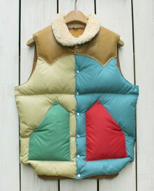 Rocky Mountain Featherbed Christy Vest / down leather Multi / Brown ロッキー マウンテン フェザーベッド クリスティー ベスト / ダウン レザーヨーク シープスキン マルチ / ブラウン 日本製 rocky 19f