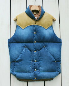 Rocky Mountain Featherbed Ranch Down Vest / leather denim Indigo Used Wash / Mocha ロッキー マウンテン フェザーベッド ランチ ダウン ベスト / デニム レザーヨーク コーデュロイ インディゴ ウォッシュ / モカ 日本製 rocky