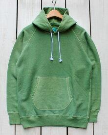 Good On Raglan Pullover Hood Sweat / parka Matcha Pigment グッドオン プルオーバー フード スウェット / パーカー 抹茶 グリーン 製品染め / men made in japan 日本製 goodon good on プルパーカー