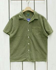 Good On Open Tee Shirts short sleeve Sage Pigment Dye グッドオン グットオン オープンカラー シャツ / 半袖 Tシャツ生地 ボタン セージ グリーン 製品染め Made in JAPAN 日本製 goodon