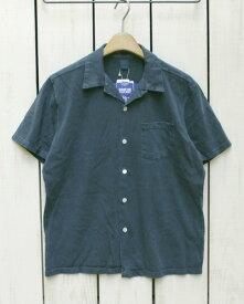 Good On Open Tee Shirts short sleeve Navy Pigment Dye グッドオン グットオン オープンカラー シャツ / 半袖 Tシャツ生地 ボタン ネイビー 紺 製品染め Made in JAPAN 日本製 goodon