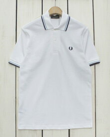 Fred Perry Twin Tipped Fred Perry Shirt / polo pique / 300 White Ice Navy フレッド ペリー 2本ライン フレッドペリー シャツ / ポロ 半袖 ピケ 鹿の子 / ホワイト アイス ネイビー made in England 英国製 fred M12 m12