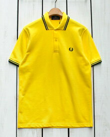 Fred Perry Twin Tipped Fred Perry Shirt polo pique k10 Cyber Yellow / Black フレッド ペリー 2本ライン フレッドペリー シャツ ポロ 半袖 ピケ 鹿の子 イエロー ブラック 定番 made in England 英国製 fred M12 m12