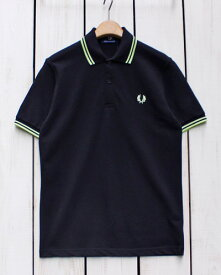 Fred Perry Twin Tipped Fred Perry Shirt polo pique k32 Black / Acid Lime フレッド ペリー 2本ライン フレッドペリー シャツ ポロ 半袖 ピケ 鹿の子 ブラック ライム 定番 made in England 英国製 fred M12 m12