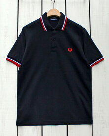 Fred Perry Twin Tipped Fred Perry Shirt polo pique 186 Black / White Red フレッド ペリー 2本ライン フレッドペリー シャツ ポロ 半袖 ピケ 鹿の子 ブラック ホワイト レッド 定番 made in England 英国製 fred M12 m12