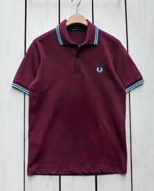 Fred Perry Twin Tipped Fred Perry Shirt polo pique k36 Aubergine / Mint Haze フレッド ペリー 2本ライン フレッドペリー シャツ ポロ 半袖 ピケ 鹿の子 ダークパープル ミント made in England 英国製 fred M12 m12
