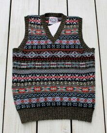 Jamieson's V-Neck Fairisle Vest slip over wool Grey / 53 made in scotland ジャミーソンズ ブイネック フェアアイル ベスト ニット シェットランド ウール グレー マルチ スコットランド製 jamiesons