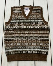 Jamieson's V-Neck Fairisle Vest slip over wool Brown / 13 made in scotland ジャミーソンズ ブイネック フェアアイル ベスト ニット シェットランド ウール ブラウン 同色系 スコットランド製 jamiesons