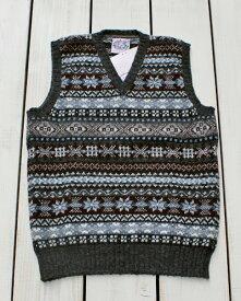 Jamieson's V-Neck Fairisle Vest slip over wool Dark Grey / 93 made in scotland ジャミーソンズ ブイネック フェアアイル ベスト ニット シェットランド ウール ダークグレー 同色系 スコットランド製 jamiesons