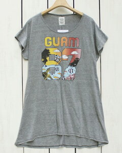 US RAGS women Triblend Box One Piece / long tee 「 Guam 87 」 Grey Mix ユーエス ラグス ウィメンズ プリント ボックス ワンピース / 半袖 ロング Tシャツ / グレー ミックス made in usa usrags onepiece