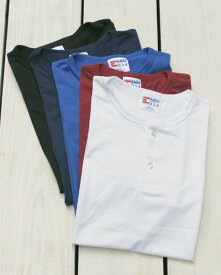 EAGLE USA Two Button Placket SS Tee henley round solid 5-Colors Made in USA イーグル ユーエスエー 2ボタン ヘンリー Tシャツ 半袖 無地 ラウンドボトム 5色展開 レイヤード eagle champion アメリカ製