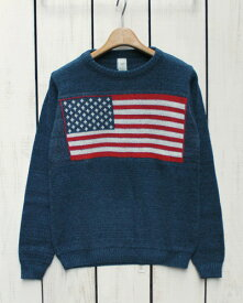 green 3 apparel Americana Crew Sweater recycled cotton knit Navy Red Off White / made in USA グリーン スリー アパレル リサイクルコットン クルー セーター ニット 長袖 星条旗 ネイビー レッド オフホワイト アメリカ製