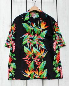 Hilo Hattie Mens Aloha Shirt / rayon Bird of Paradise Black / Made in Hawaii ヒロハッティ メンズ アロハ シャツ 半袖 レーヨン ブラック 花柄 ハワイ製 / リゾート バカンス