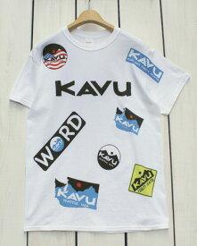 KAVU Overall Print Tee / logo Short Sleeve / White / カブー オーバーオール プリント Tシャツ ロゴ 総柄 / 半袖 ホワイト 白 / kavu gildan body