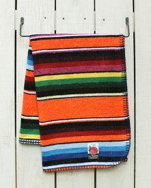Mucho Bueno Serape Cotton Travel Blanket Orange Multi 002 ムーチョ ブエノ コットン セラぺ トラベル ブランケット 小さめ ひざ掛け マルチカバー オレンジ マルチ ボーダー mucho native mexico