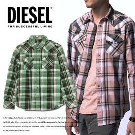 ディーゼル メンズ DIESEL 長袖シャツ チェックシャツ トップスS-CAMILOピンク グリーン ウエスタンシャツ