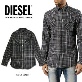 ディーゼル DIESEL 長袖シャツ メンズSULFEDEN SHIRT チェックシャツ ウエスタンシャツ カジュアルシャツブラック グレー アメカジ