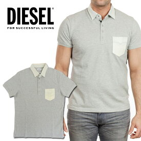 ディーゼル メンズ DIESEL デニム切替ポロシャツ トップスT-BLEACH グレー デニム インディゴ父の日ギフト/プレゼント