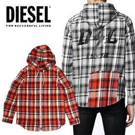DIESEL ディーゼル メンズ チェックシャツ パーカー ジップフードS-ECOH シャツジャケットブラック オレンジ フード パーカー ライトアウター正規品/即納