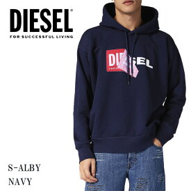 DIESEL ディーゼル メンズ ボックスロゴ パーカーS-ALBY プルオーバー スウェット 裏起毛 ビッグサイズ ネイビー 紺