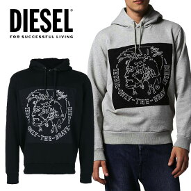 DIESEL ディーゼル メンズ 刺繍 パーカー フードS-ALBERT プルオーバー フーディー スウェット 裏起毛ブレイブマン モヒカン 黒 グレー ブラック