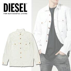 DIESEL ディーゼル メンズ ホワイトデニムジャケットトップス アウター ブルゾン Gジャン シャツジャケット D-ELOV クラッシュ ホワイト デニム