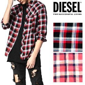 DIESEL ディーゼル メンズ 長袖シャツ チェックシャツ カジュアルシャツS-PLANET SHIRT赤チェック ネルシャツ 長袖正規品/即納