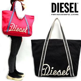 DIESEL ディーゼル キャンバス トートバッグCANVAS BAG JP L ロゴ マザーズバッグバッグ 鞄 黒 ブラック 赤 レッド かわいい