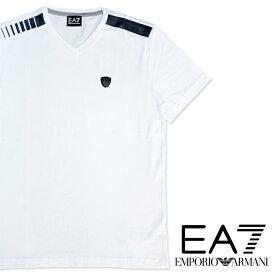EMPORIO ARMANI エンポリオアルマーニ EA7 メンズ Tシャツ 3GPT71 PJP6Z 半袖 Vネック イーグルロゴ ブランドネーム ロゴホワイト 白 プレゼント ギフト 父の日