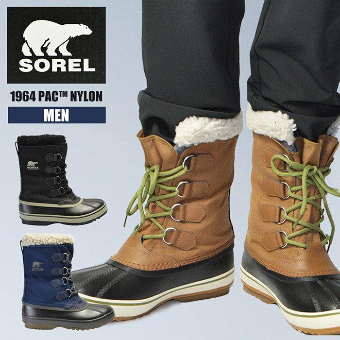 メンズ 男性 紳士 雪 ブーツ ソレル SOREL 1964 PAC NYLON NM1440 パックナイロン あったか ウィンターブーツ 防滑 スノーブーツ 防寒 軽量 防水