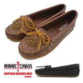レディース婦人女性ウィメンズミネトンカディアスキンビーズモカシンMINNETONKADEERSKINBREADEDMOC靴スウェードブラックブラウン