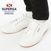 メンズレディースキャンバススニーカーSUPERGAスペルガ2750COTUCLASSIC紳士婦人シューズ靴白