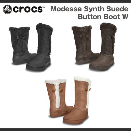 【在庫処分】クロックス モデッサ シンセティック スエード ボタン ブーツ ウィメンズ Crocs Modessa Synth Suede Button Boot Womens