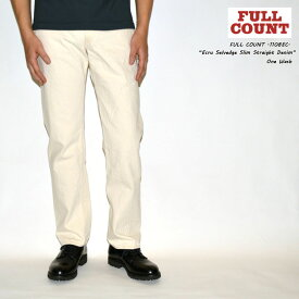"FULLCOUNT フルカウント FULL COUNT""1108EC"" Ecru Selvedge Slim Straight Denim13oz エクリュ セルビッチ スリムストレートデニム ホワイトジーンズ[タイトストレート] [ライトオンス] [ヴィンテージ系色落ち]"
