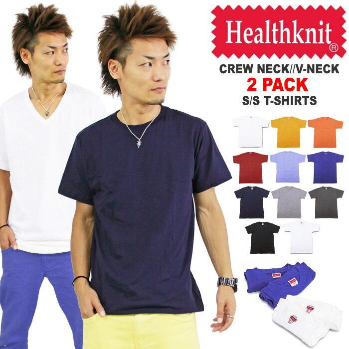 【SALE★66%OFF】Tシャツ メンズ 無地 2枚組 2枚セット Healthknit ヘルスニット 2-288 2-208【あす楽対応】【返品・交換不可】