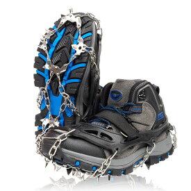 アイゼン 19本爪 簡易アイゼン 軽アイゼン 登山 雪山 降雪 積雪 トレッキング 簡単装着 収納袋付き