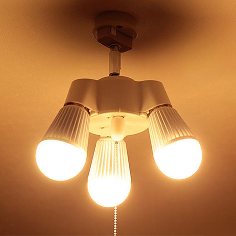 3灯 シンプルソケット BBA-004|照明 照明器具 天井照明 LED電球 シーリングライト ソケット プルスイッチ シンプル おしゃれ ランプ 電気 内玄関 トイレ クローゼット 階段 ルームライト ペンダントライト 寝室 ペンダント ライト 工作 内 玄関