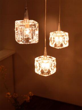 【送料無料】ガラスキューブハロゲンペンダントライト3灯SL-825(CC-40825)キシマ[kishima]|ダイニング用食卓用シーリングライト間接照明北欧天井照明寝室ガラスルームライトおしゃれかわいいベッドルーム照明器具ライトホワイトデーのお返し