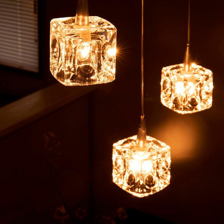 【ポイント10倍】ペンダントライト 3灯 ガラスキューブ ハロゲン nc-45017 キシマ[kishima]|ダイニング用 食卓用 シーリングライト 間接照明 北欧 天井照明 寝室 ガラス おしゃれ かわいい 照明器具 cc-40825 リビング用 居間用 キッチン クリスマスプレゼント