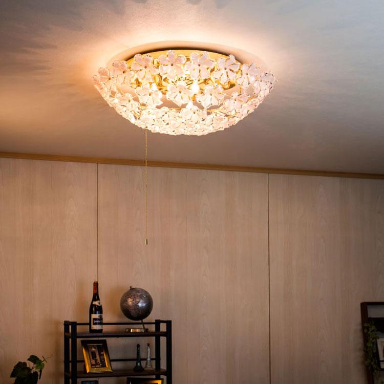 【送料無料・一部地域を除く】シャンデリア ブルーム プルスイッチ シーリングライト led おしゃれ かわいい 可愛い 北欧 インテリア リビング用 居間用|天井照明 シーリング ライト 照明器具 ダイニング用 食卓用 リビングライト 電気